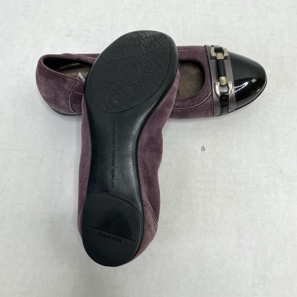 Agl Shoes   Agl Purple Leather Cap Toe Ballet Flats Shoes